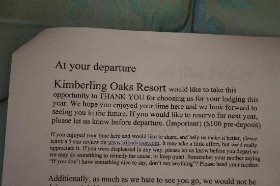 Kimberling City, MO: give us a 5 star rating or keep quiet...