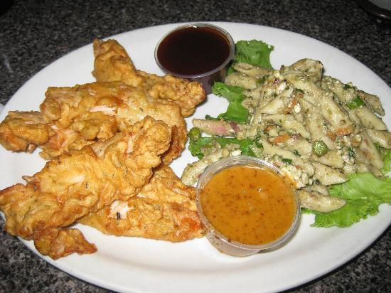 La Strada at Lake Lure: Herbed Chicken Fingers and pasta salad
