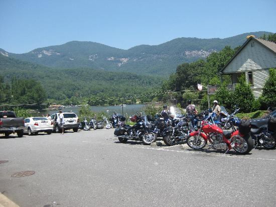 La Strada at Lake Lure: Motorcyles in one parking area of La Strada