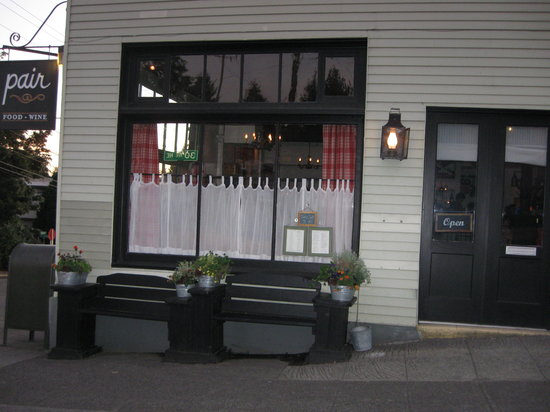 Pair: The entrance to the restaurant