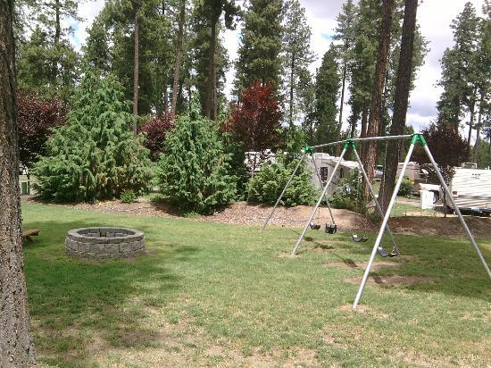 Ponderosa Falls RV Resort: swing set and the one fire pit (gas)