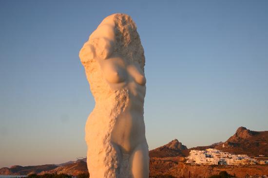 Naxos, Greece: Sunning statue