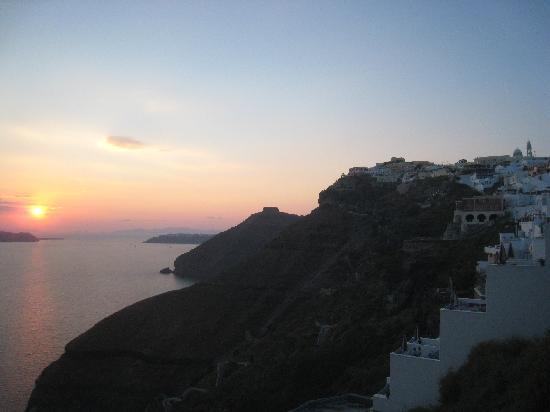 Caldera Studios: sunset from the balcony