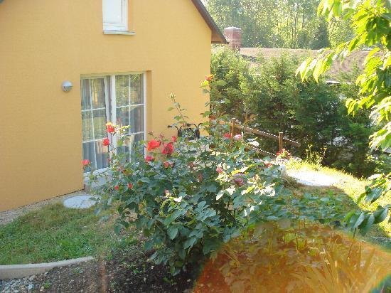 Hotel Haus Orchideental: 部屋の外のベランダとバラ