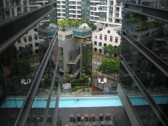 Studio M Hotel: View from Glass Panels along Narrow Passage way.