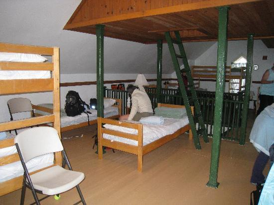 Star of the Sea Hostel: women's bunk room. Ladder leads to lookout with 360 degree view