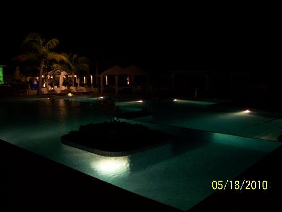 Iberostar Grand Hotel Rose Hall : the pools at night--at least parts of them