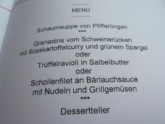 Landhaus Roter Ochse: Speisekarte bei Candlelight Dinner