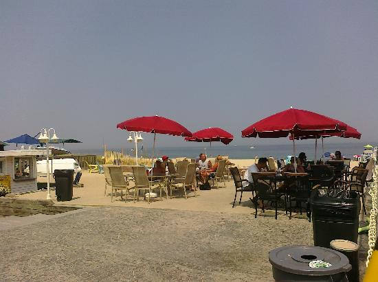 Point Pleasant Beach, NJ: patio view of beach