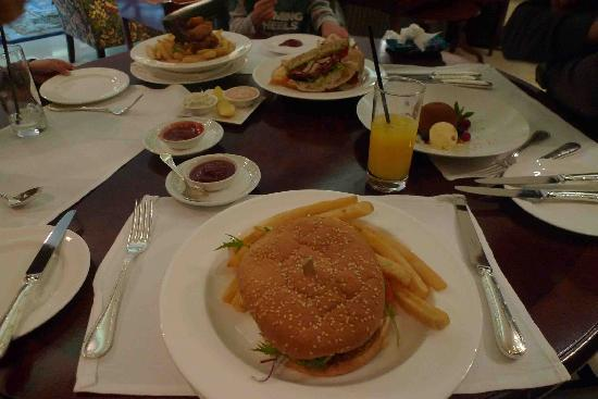 The Langham, Sydney: Beef burger, chicken club sandwich, fish and chips and mousse