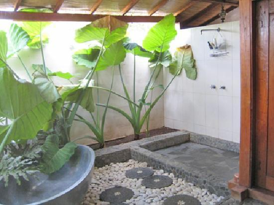 Lovina Beach Houses: One of our luxury semi-outdoor ensuite bathrooms with beautiful natural stone features.