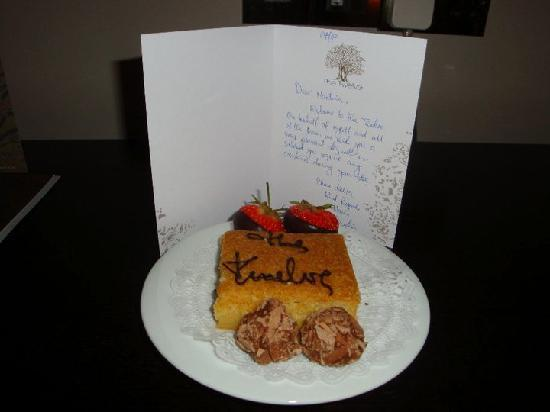 The Twelve Hotel: Welcome card from Hasan
