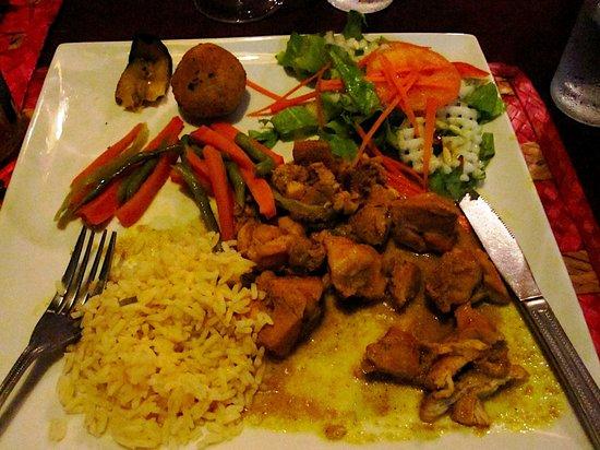 Laurel's: chicken, breadfruit balls, plantains, rice, and salad
