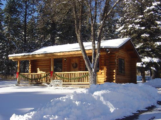 Somers Bay Log Cabin Lodging: Cabin in the Snow