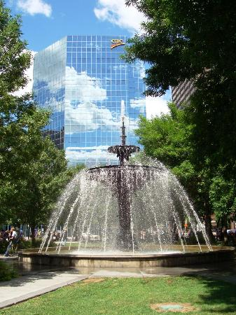Hamilton, Canada: Gore Park, C.I.B.C. tower and fountain.