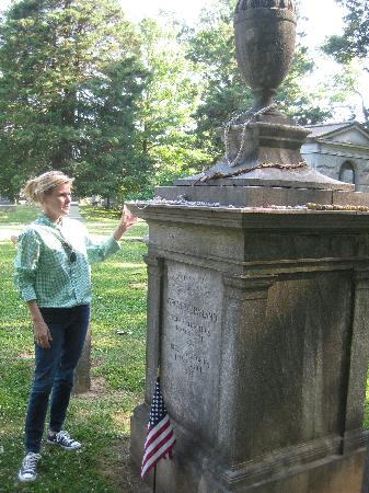Mimi explaining a landmark in the Princeton cemetary