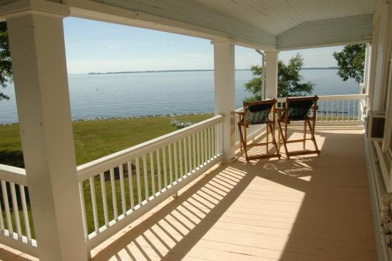 Wades Point Inn on the Bay: View from second floor Victorian Summer Wing porch