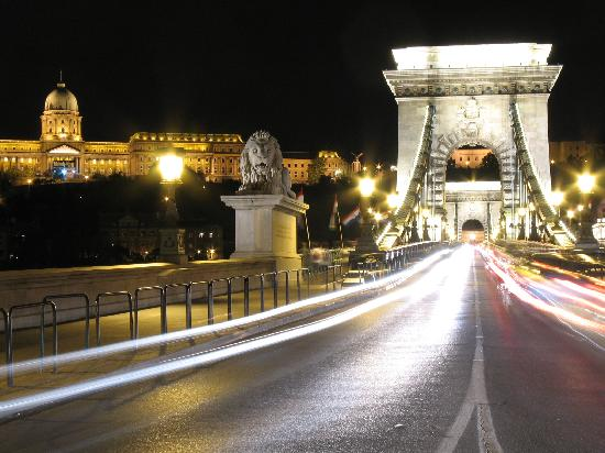 Budapest, Hungary: bellissimo ponte catene di notte