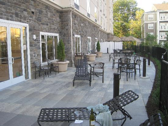 Hilton Garden Inn Blacksburg : Patio off pool, spa, exercise room. in afternoon shade.