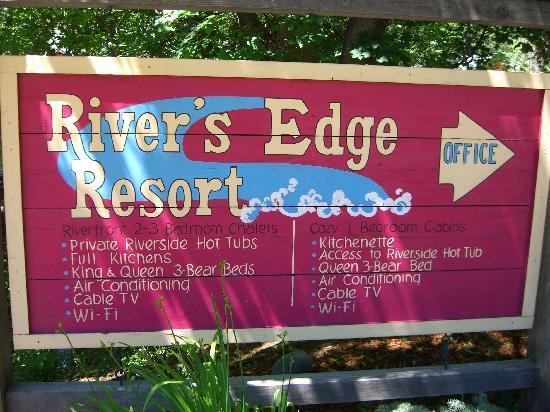 River's Edge Resort: Their sign with amenities listed