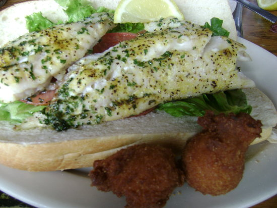 Hyman's Seafood : perch sandwich and hush puppies