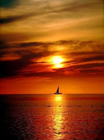 Couples Swept Away : sunset on the catamaran
