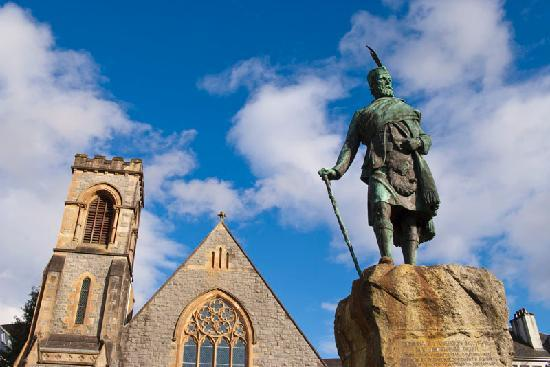 Fort William, UK : High Street statute of Donald Cameron, 24th Chief of the Clan Cameron.