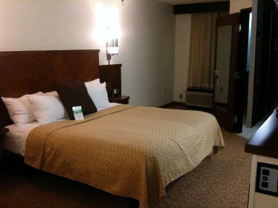 Hyatt Place Roanoke: Comfortable bed, noisy outdated wall unit HVAC