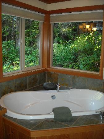 Evergreen Forest Cabins : Huge Bathtub