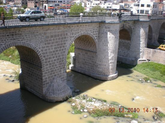 The stone bridge leading to Arequipa