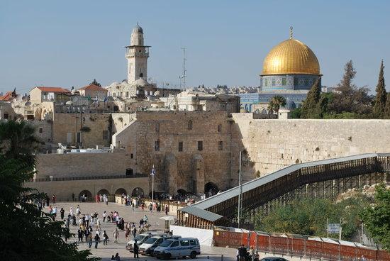 Jerozolima, Izrael: Klagemauer und im Hintergrund der Felsendom