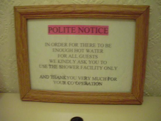 Paddock Guest House: Polite notice.
