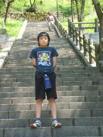 Ono, Japón: 急な石段、子供は喜んで駈け上がる、大人は間違っても追ってはいけない