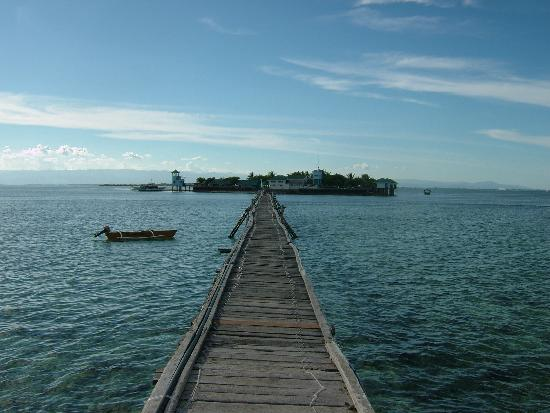 Nalusuan Island Resort: Looking down the pier