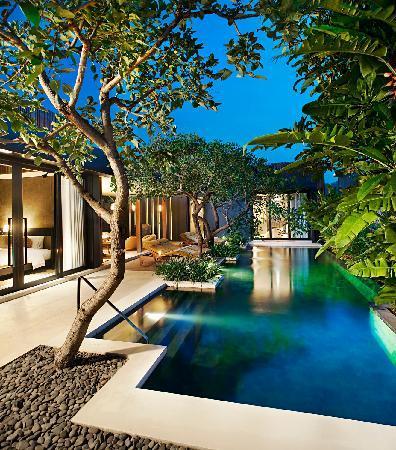 Wow Two Bedroom Pool Villa Retreat at dusk