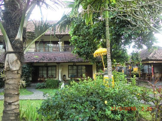 Bumas Hotel: Kamers gezien vanuit zwembad(liggen allen rond zwembad en enkelein tuin(25m van zwembad)