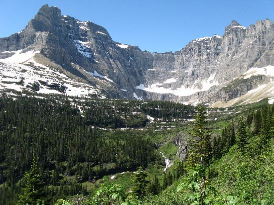 Many Glacier Campground: View of the Iceberg Lake amphitheater