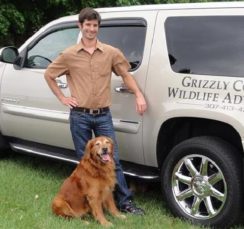 Grizzly Country Wildlife Adventures : Owner and Lead Guide Jonathan and his dog Lucien