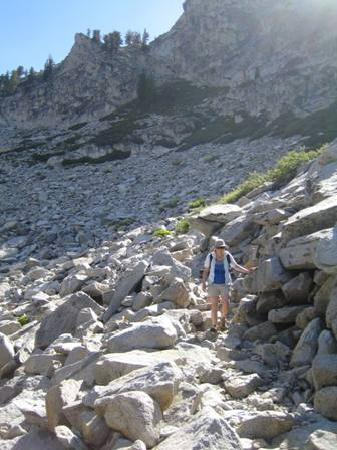 Mineral King Road: The trail crosses a rock field on the way to Eagle Lake