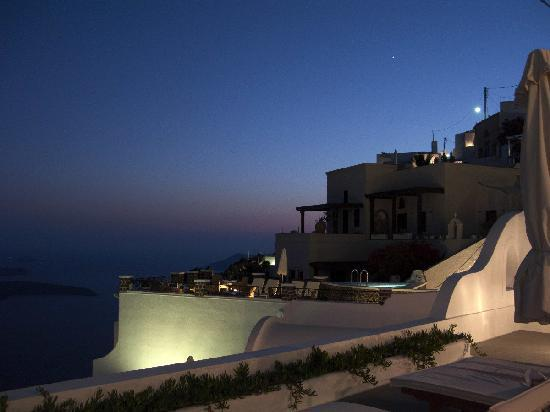 Uranos Traditional Houses: View from Terrace at night