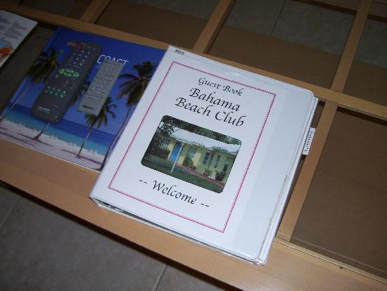 Bahama Beach Club Apartments: Info book