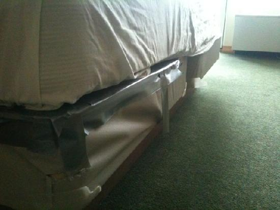 Awesome The Pine Lodge On Whitefish River: Bed Frame Held Together With Duct Tape
