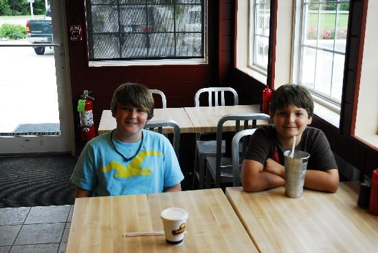 Jake's Hamburgers: Enjoying a milkshake