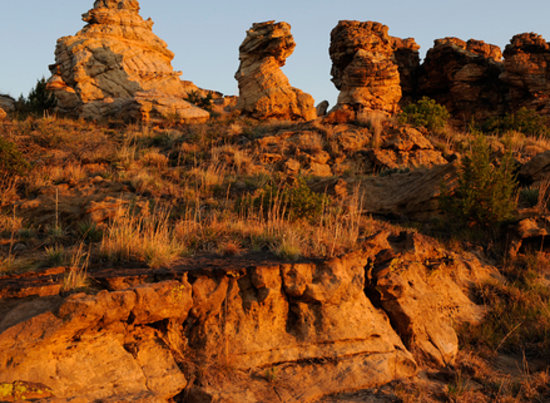 Dramatic rock formations can be found in the Black Mesa area of the Oklahoma panhandle.