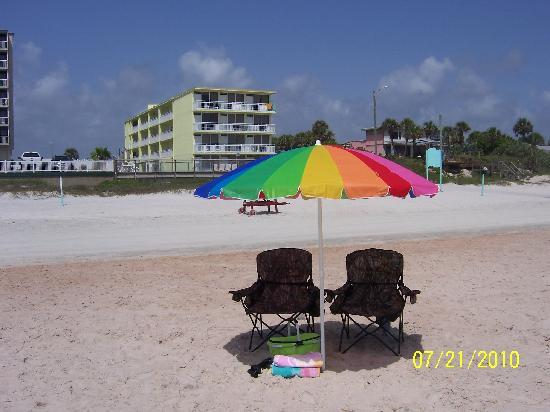 Our spot on the beach with Symphony Beach Club in the background.