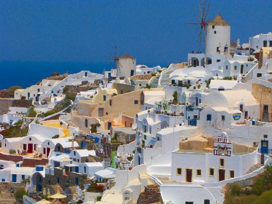 Santorini, Greece: The black volcanic sand of Perissa Beach