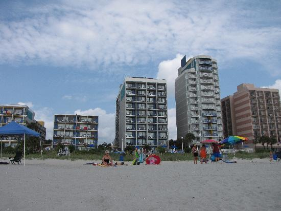 Palmetto Shores Oceanfront: Palmetto Shores and adjacent hotels from the beach