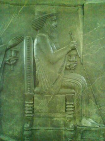 National Museum of Iran : Darius with a sign of Nowrouz in his hand in Nowrouz Ceremony
