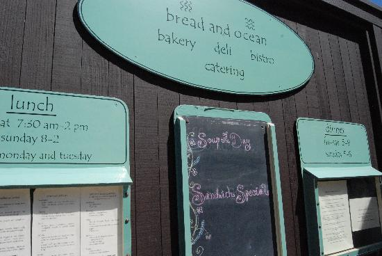 Bread and Ocean Bakery: menus posted outside