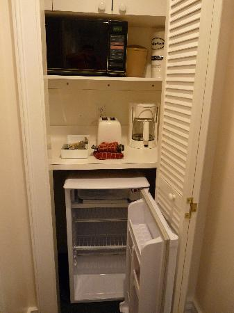 """Coconut Beach Resort: The """"limited kitchen"""" - set inside a coat closet - now where do we hang up our clothes?"""